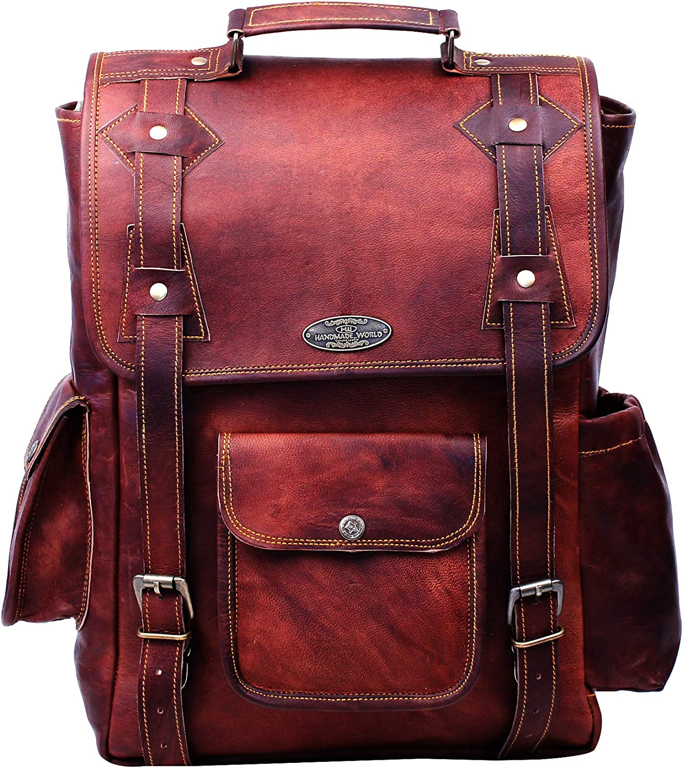 Handmade 16 Inch Brown Leather Backpack For Men Vintage Easy Open Push Lock Genuine leather backpack for women | Leather laptop backpack for men and women with padded Laptop Compartment By HULSH