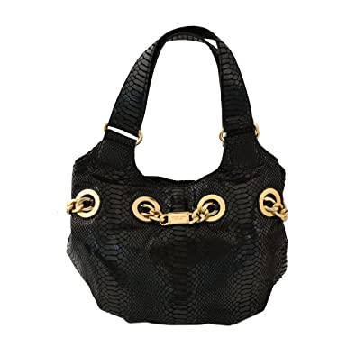 cd1219091895 ... hot amazon michael kors black python embossed leather grommet gold  chain id hobo purse shoes 0231b