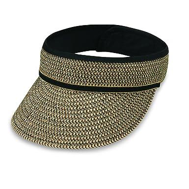 5fce8632 Wallaroo Hat Company Bianca Visor - Women's Hat - 100% Paper Braid, Black  at Amazon Women's Clothing store: