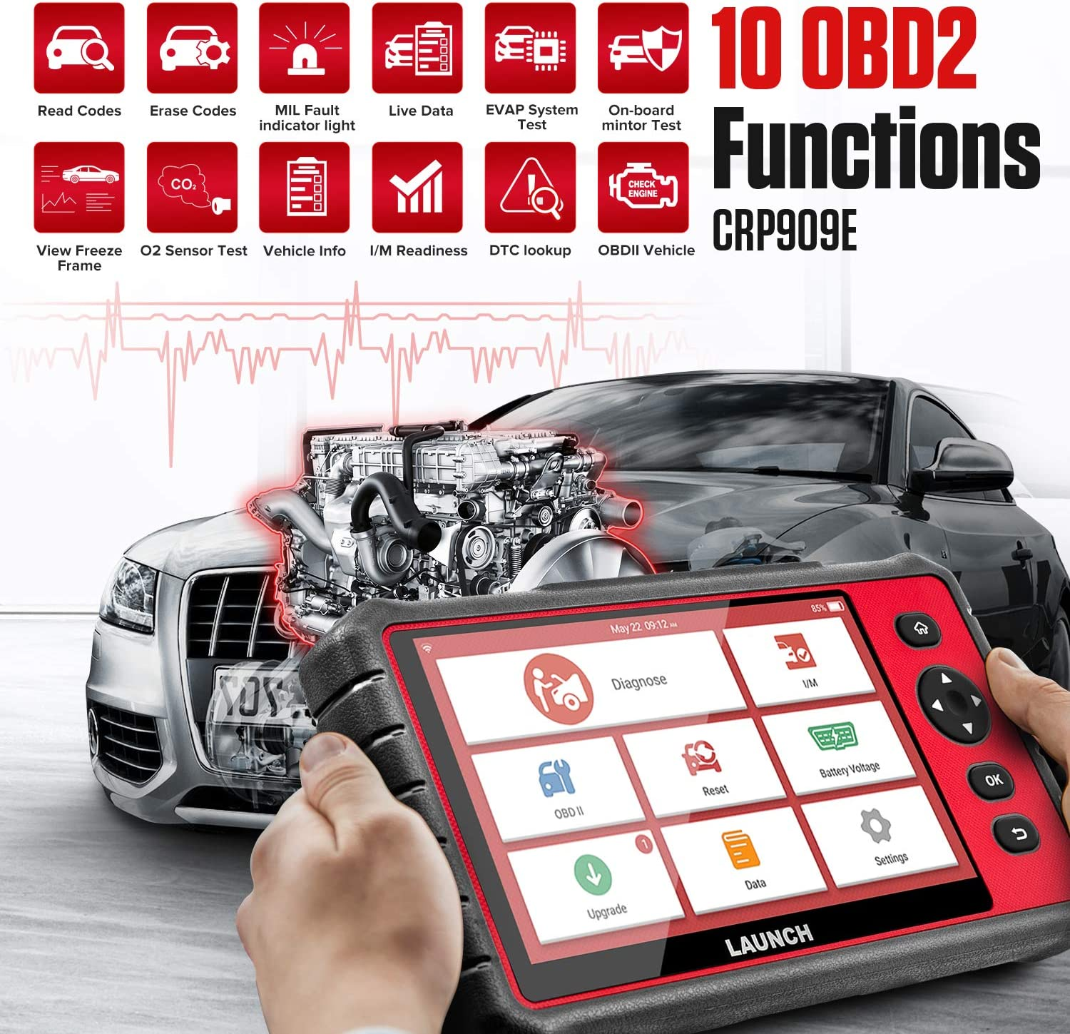 """LAUNCH CRP909E OBD2 Scanner 7/""""inch touch screen Full System Car Diagnostic Scan Tool,15 Reset Functions Automotive Code Reader,Key Programming,TPMS,SAS,DPF,BMS,IMMO,ABS Bleed,Auto VIN WiFi Free Update"""