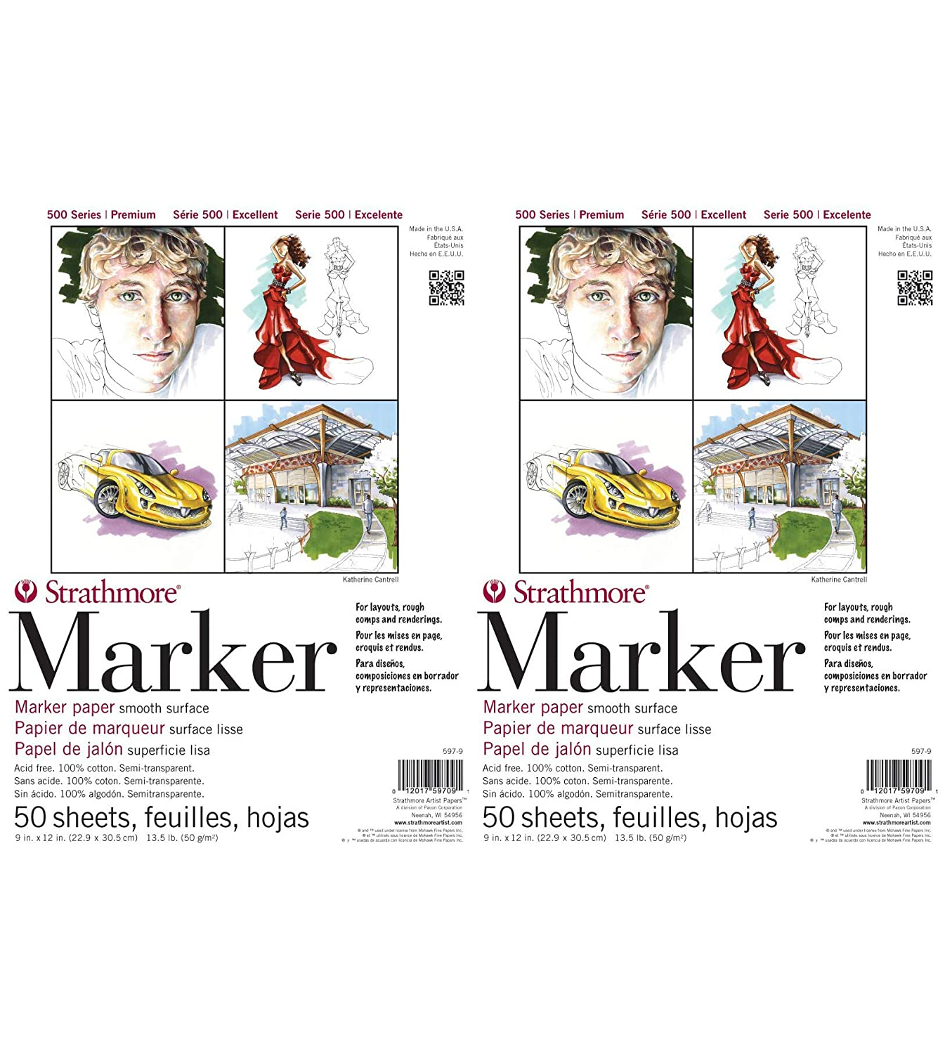597-9 500 Series Marker Pad, 9x12, 50 Sheets Strathmore