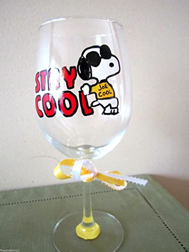 hand painted wine glass snoopy joe cool stay cool 12 oz