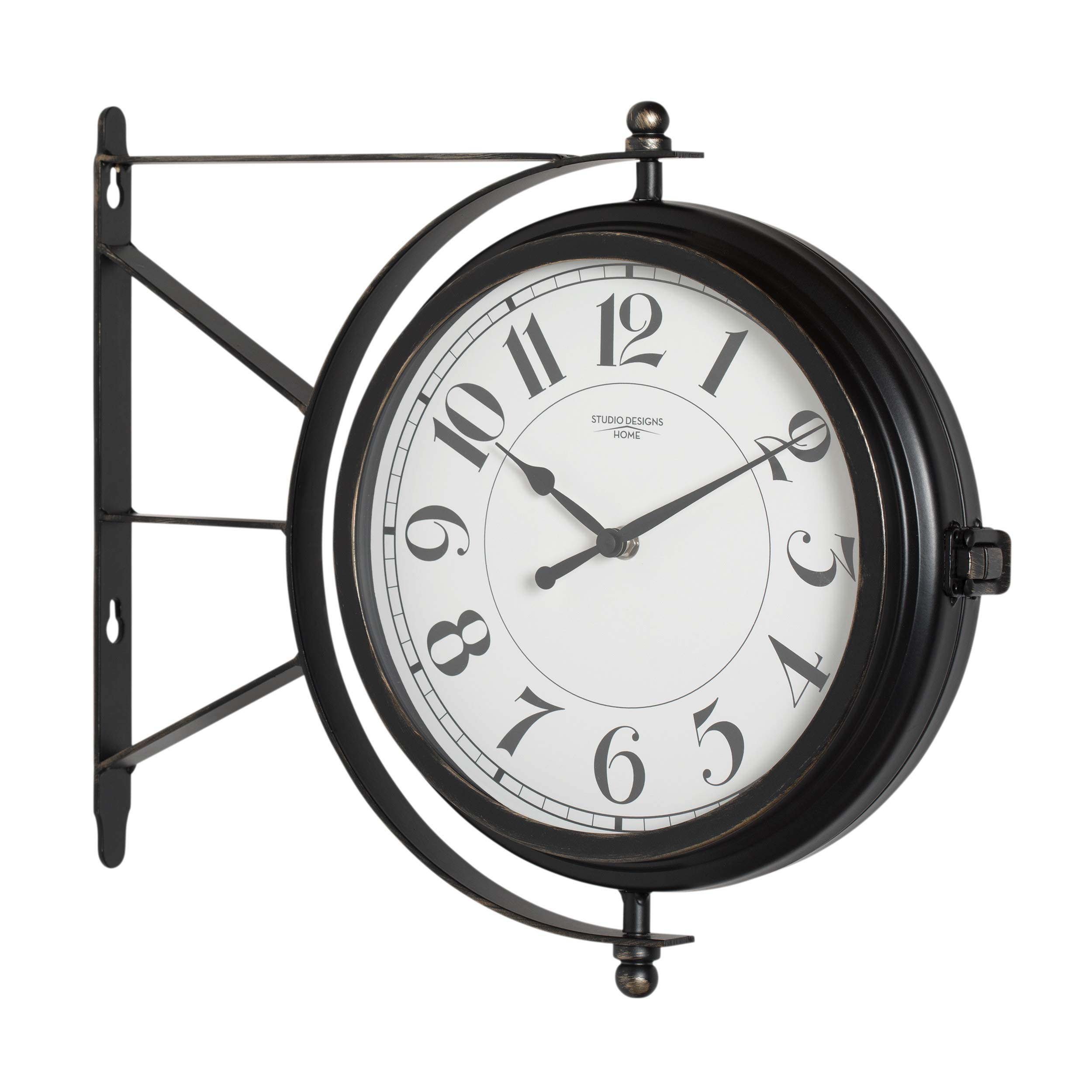 Studio Designs Home Metro Station 18'' Dual Face Clock and Thermometer in Oil Rubbed Bronze 73015, 15.75'' W x 14.25'' H x 3.25'' D