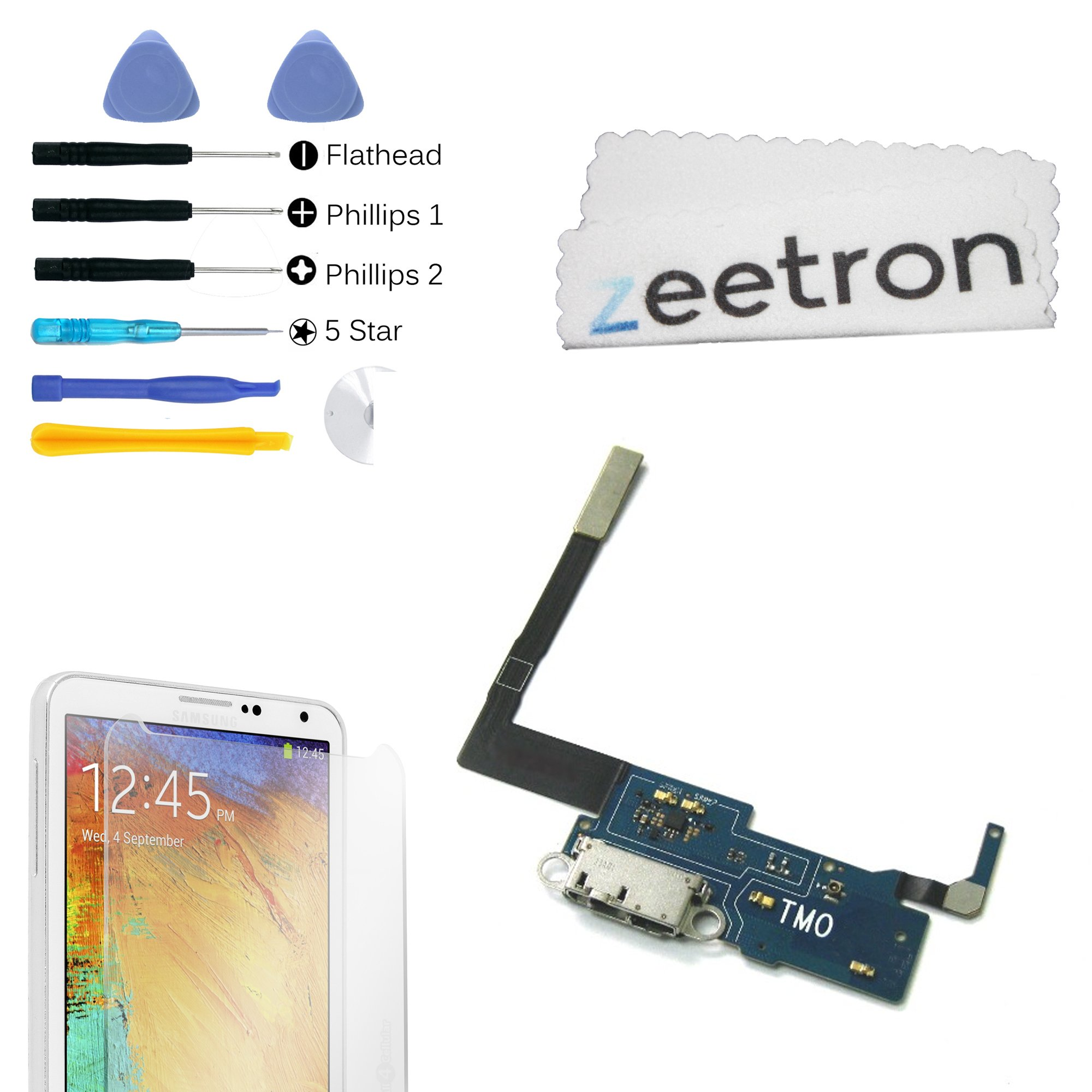 Zeetron Premium Replacement Kit For Samsung Note 3 Charging ring Dock Port Flex Cable + Microphone For N900T (Tmobile)