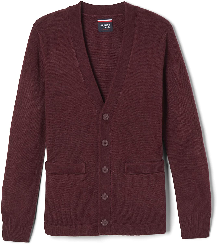 French Toast Boys' Anti-Pill V-Neck Cardigan Sweater (Standard & Husky): Clothing