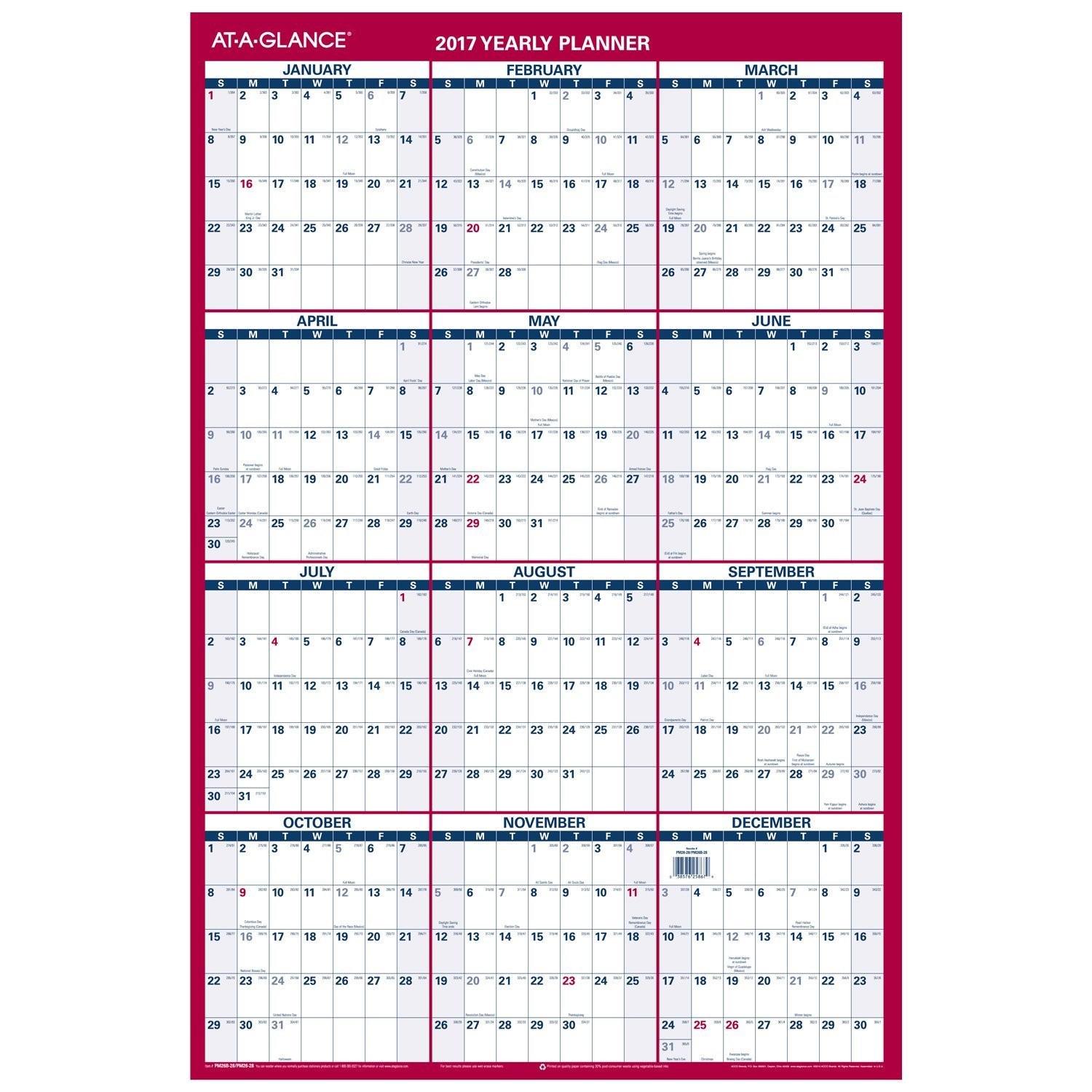 Amazon.com : AT-A-GLANCE Wall Calendar 2017, Erasable, Reversible ...