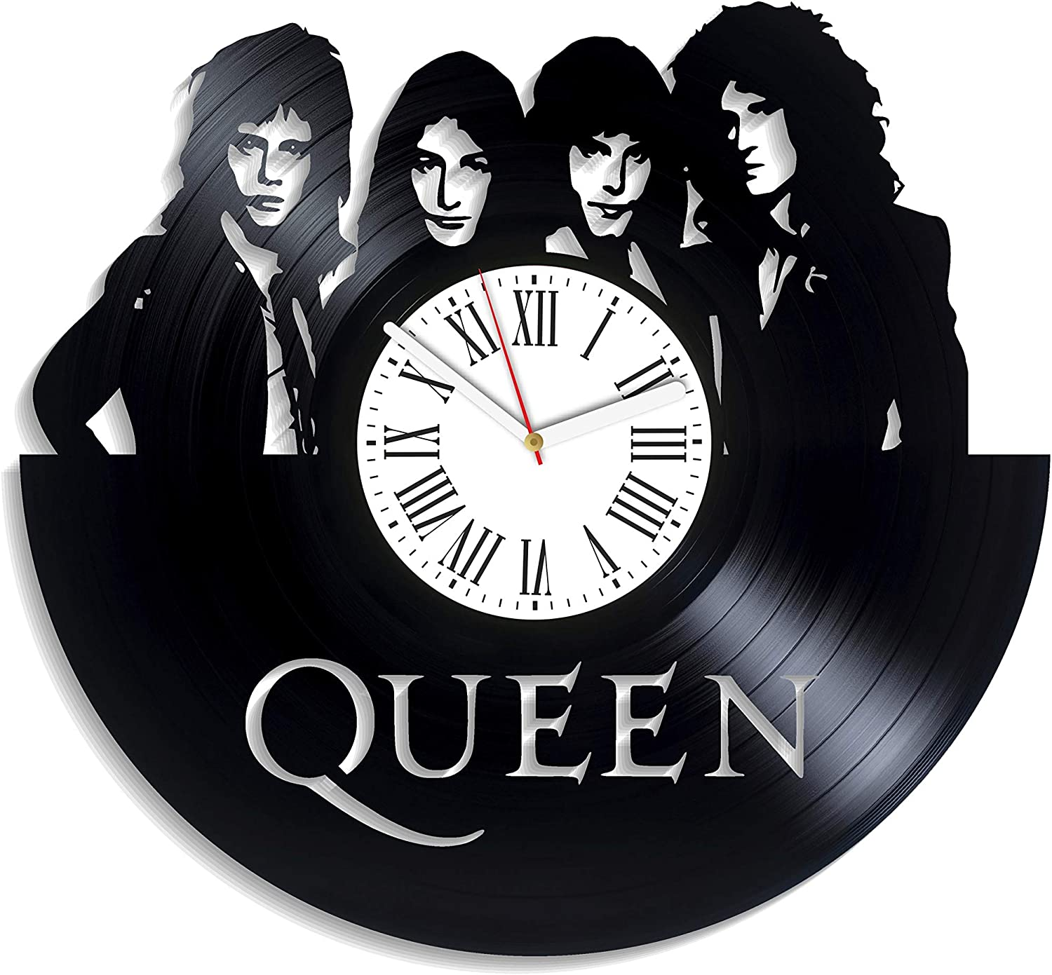 Kovides Queen Rock Music Band Home Decor We Will Rock You Queen Wall Clock Minimalist Decor for Living Room Birthday Gift for Fan Queen Music Vintage Vinyl Record Clock