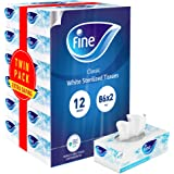 Fine, Sterilized Facial Tissues, Classic, 86X2 Ply, pack of 12 boxes