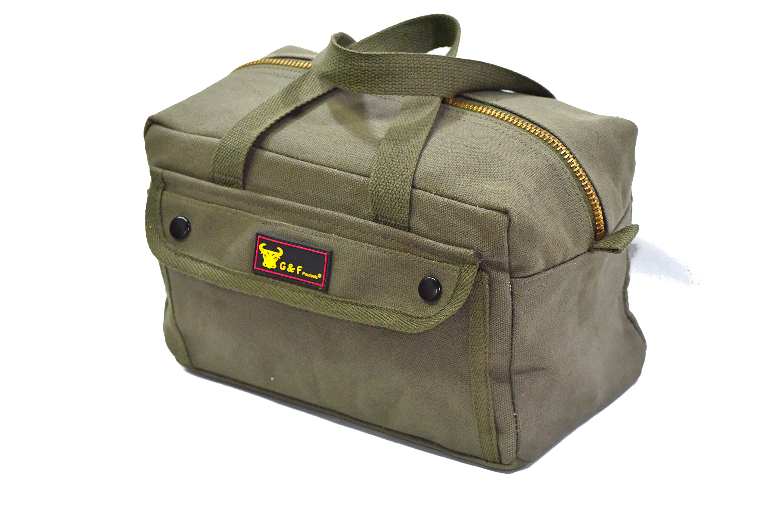 Government Issued Style Mechanics Heavy Duty Tool Bag with Brass zipper and side pockets, tool bag for cars, drill, garden, and electrician. Olive Green by G & F Products