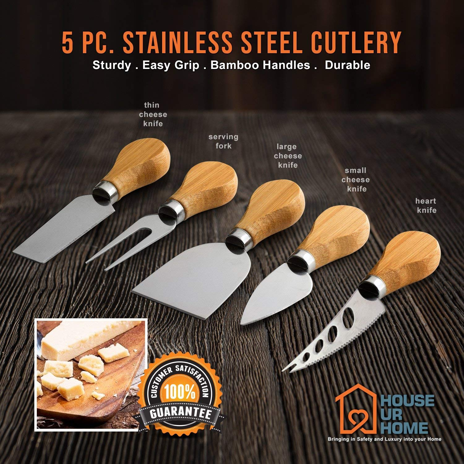 Cheese Knife And Marker Set, 5 Cutlery Knives Stainless Steel Bamboo Handles, 4 Cheese Board Labels Made Of Natural Black Slate Includes 2-Chalk Markers.Gift For All Occasions Upgrade By House Ur Home by House Ur Home (Image #3)