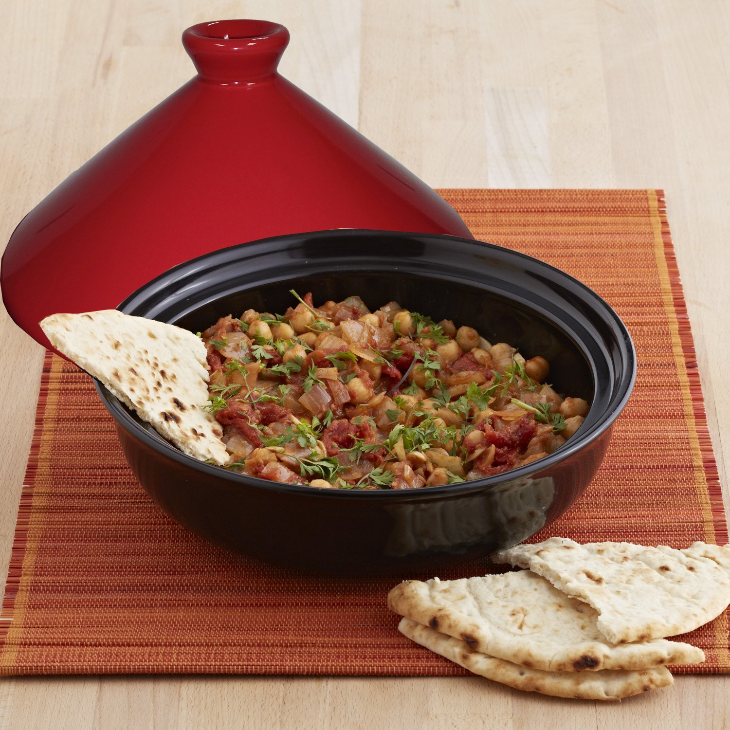 IMUSA USA GKM-61001 GK Ceramic Tagine Pot 2.1-Quart, Red
