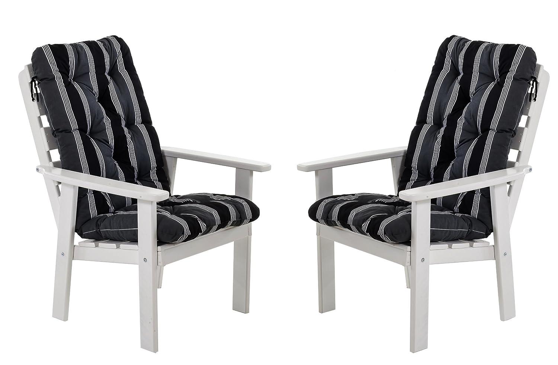 Ambientehome 90328 Gartensessel Gartenstuhl Loungesessel 2-er Set Massivholz Hanko Maxi, weiß mit Kissen, schwarz / grau