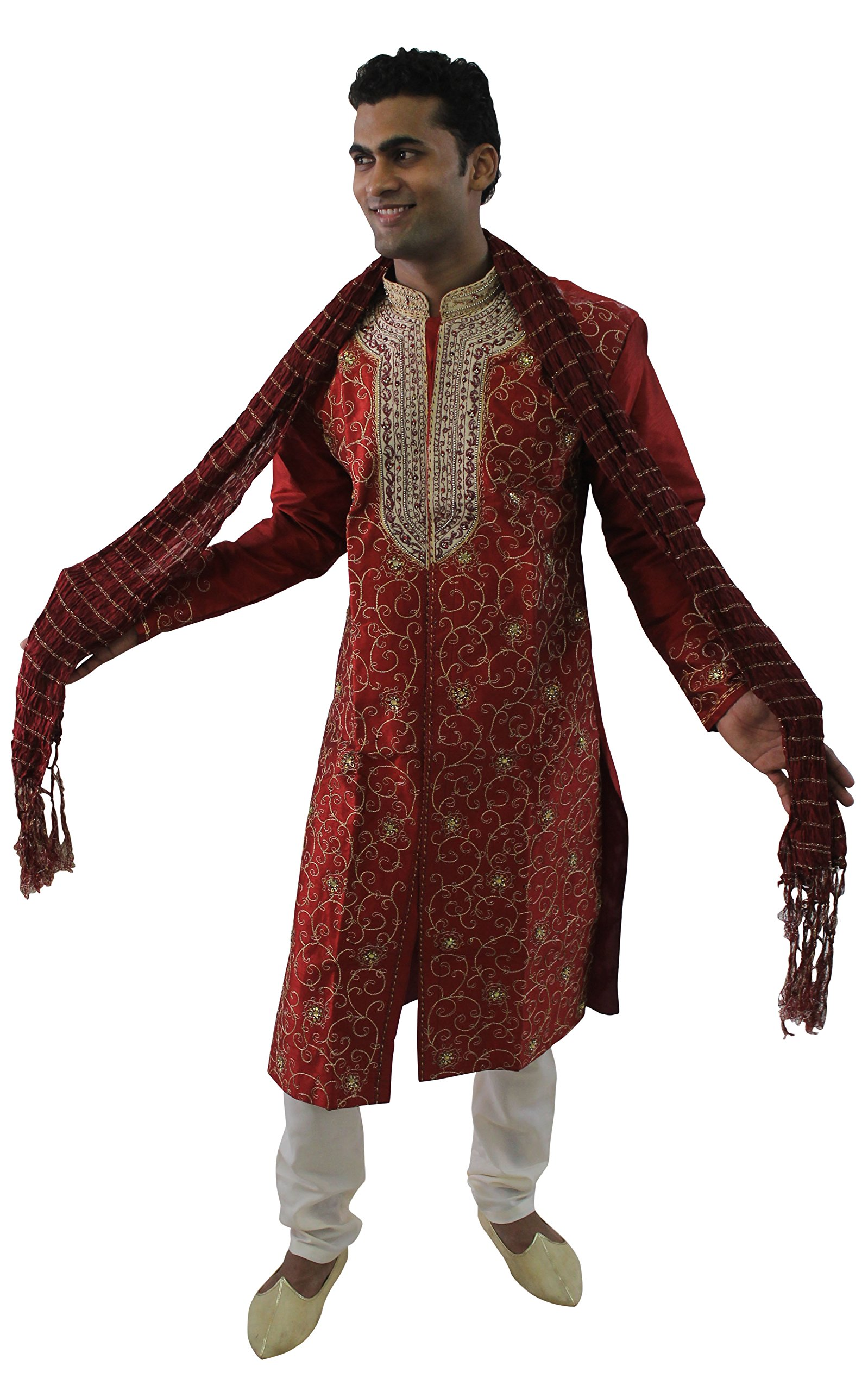 Apparelsonline Mens Sherwani Set Indian Wedding Party Wear (XXXLarge)