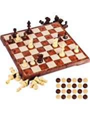 UNEEDE Jeu d'échecs 32x32,2 en 1 Jeu de Jeu d'échecs et de Dames Standard avec Conception Pliante portative pour des Enfants et des Adultes