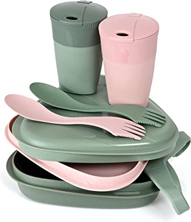 Light My Fire - Kit 8 Pzs - 2 Personas - Juego de Vajilla, Cubiertos y Tasas Reutilizables para Llevar - Microondas y Lavavajillas - Plástico 100% sin ...