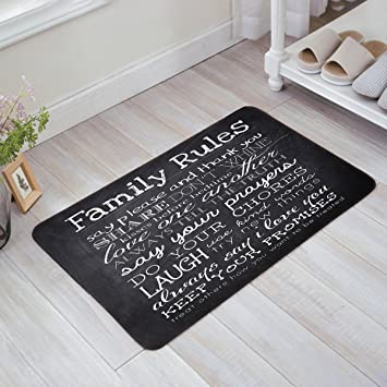 Amazon.com : Indoor Doormat Stylish Welcome Mat Family Rules Quotes ...