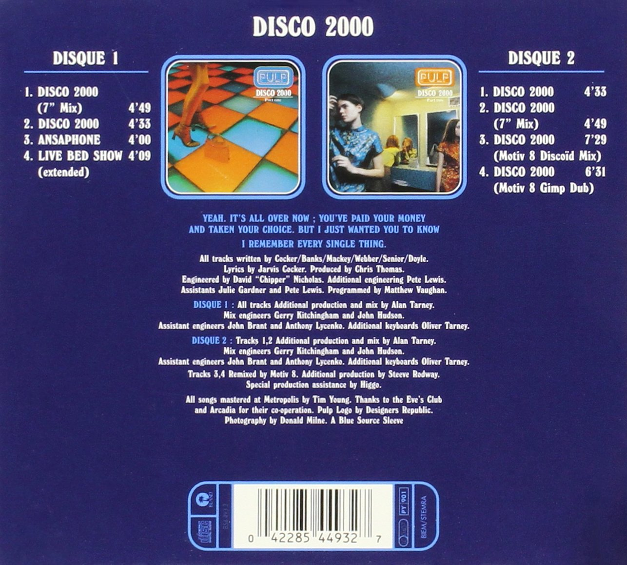 Disco 2000 Pt.1 / Ansaphone / Live Bed Show