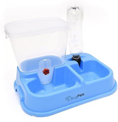 bugpets 2 in1 Dispensador de agua – Dispensador de forro para perros y gatos – Combinado Forro goteo con comida y agua napf – Incluye botella: Amazon.es: Productos para mascotas