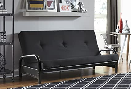 dhp black metal arm with 6 u0026quot  futon mattress converts from sofa to full size amazon    dhp black metal arm with 6   futon mattress converts      rh   amazon
