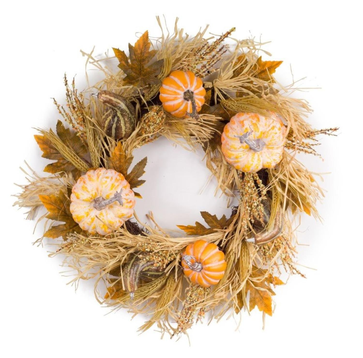 """Melrose Pack of 2 Autumnal Fall Harvest Wheat, Leaf, Pumpkin and Gourd Artificial Wreath 23"""""""