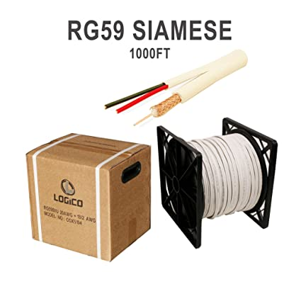 Siamese Security Camera Cable 1000ft White RG59