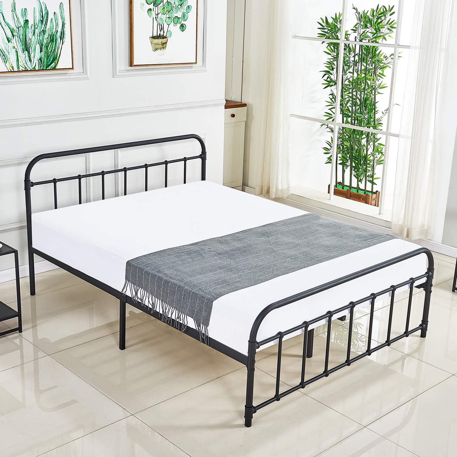 DIKAPA Queen Size Bed Frame, Reinforced Metal Platform Vintage Style Design Heavy Steel Support Mattress Foundation Box Spring Replacement Headboard Footboard