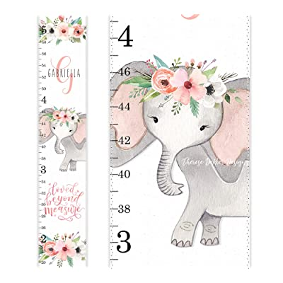 Elephant Growth Chart, Canvas Growth Chart, Personalized Growth Chart, Coral Roses Nursery, Safari Jungle Animal, Floral Animal Nursery: Handmade