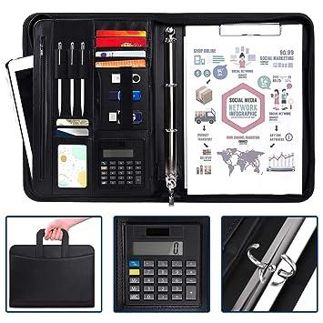 ad0701059b171d Porte Documents,Organiseur, Porte documents en cuir multifonctionnel  dossier de conférence de A4 avec la calculatrice et les poignées  magnétiques ...