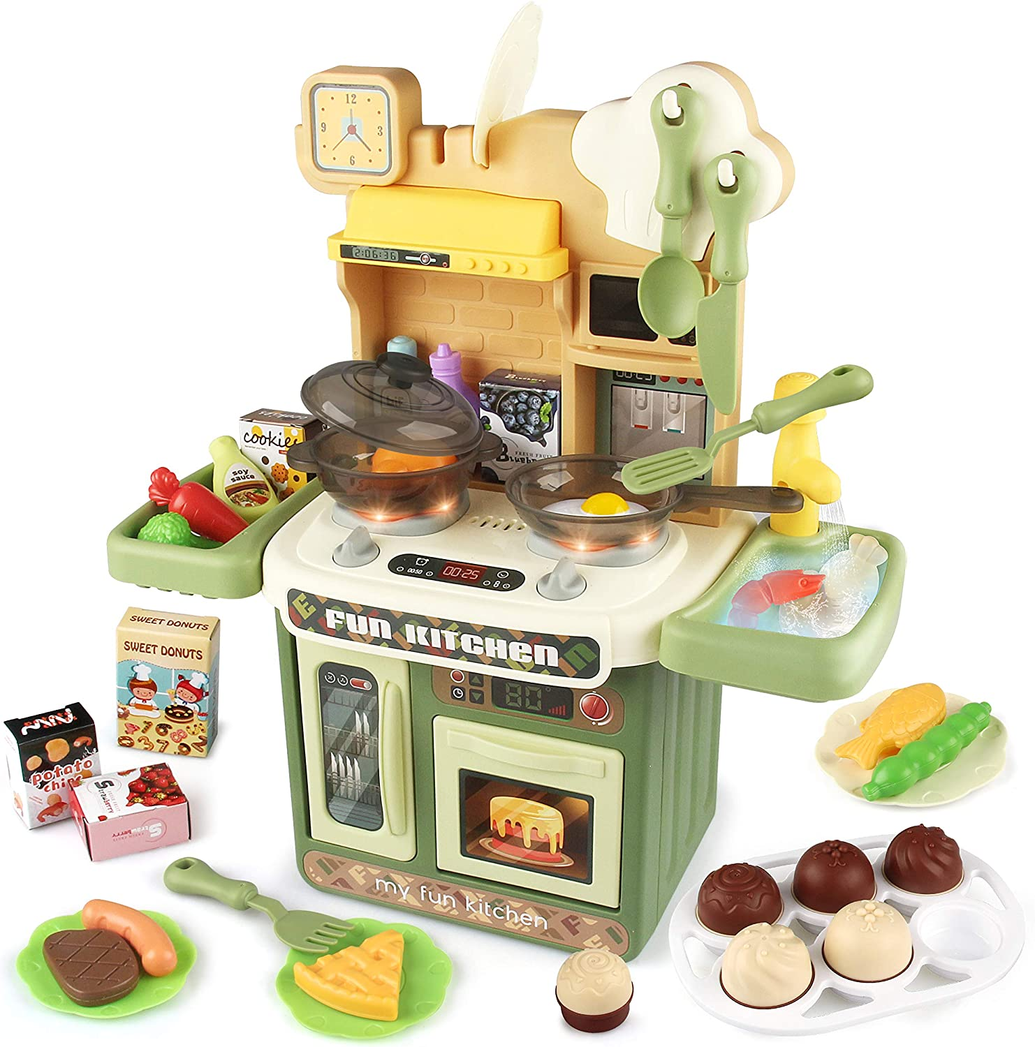 KIMSTONE Kids Kitchen Play Set,Play Kitchen Set with Realistic Lights & Sounds,Play Sink with Running Water,Toddlers Cooking Accessories,Play Food Toy for Boys and Girls