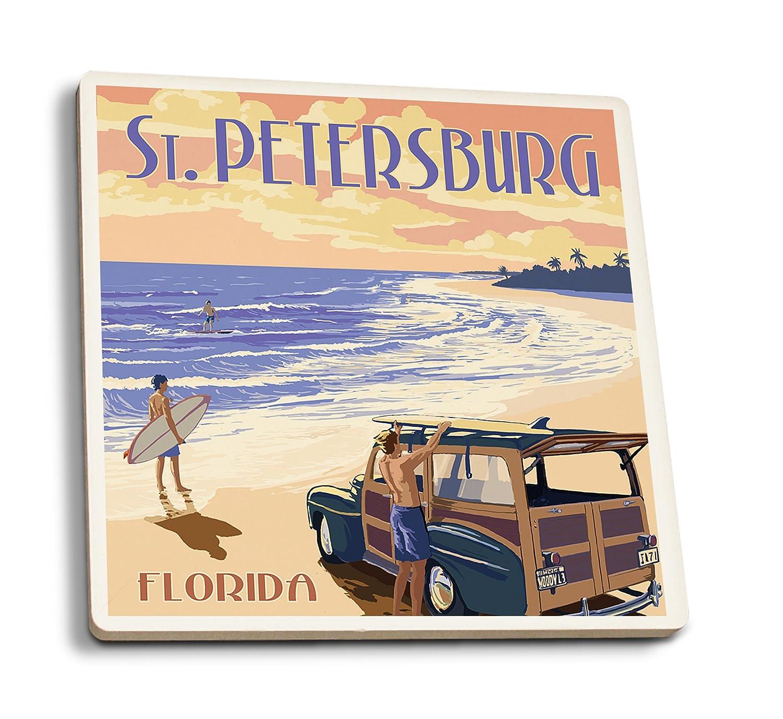 サンクトペテルブルク、フロリダ州 – Woody on the beach 4 Coaster Set LANT-44815-CT 4 Coaster Set  B07DD3P5CL