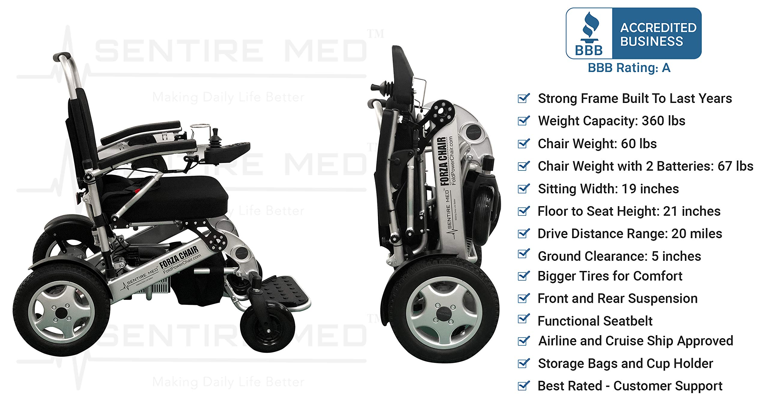 Sentire Med Forza FCX Deluxe Fold Foldable Power Compact Mobility Aid Wheel Chair, Lightweight Folding Carry Electric Wheelchair, Motorized Wheelchair, Powerful Dual Motor Wheelchair by Sentire Med