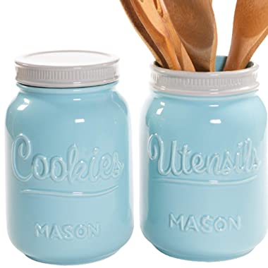 Mason Cookie Jar & Utensil Holder Set - Large Airtight Ceramic Cookie Jar - Vintage Farmhouse Utensil Holder - Rustic Decorative Air Tight Container For Cookies, Cracker, and Other Snacks (Blue)