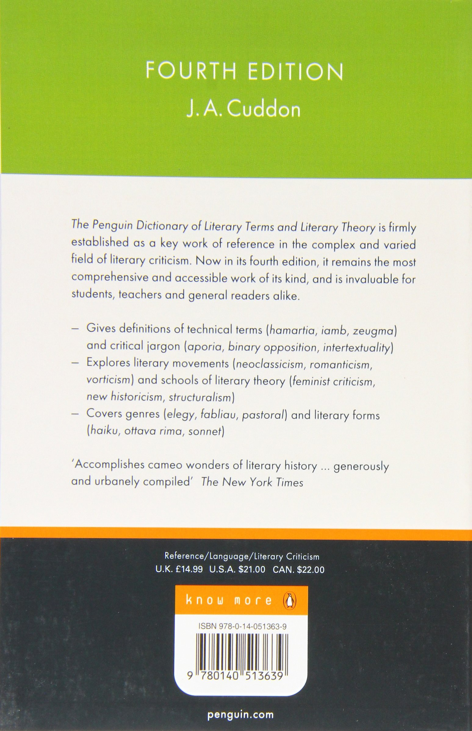 The Penguin Dictionary of Literary Terms and Literary Theory (Reference  Books): Amazon.co.uk: J. A. Cuddon: 8601404243325: Books