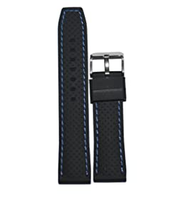Kolet 20mm Dotted Blue Stitched Silicone Watch Strap (Black)