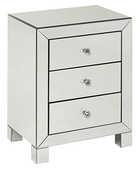 Amazon.com: AVE SIX Reflections 3 Drawer Accent Table, Silver ...