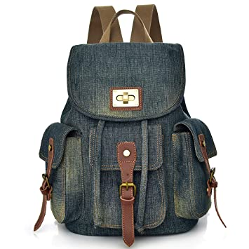 a315cfa08340 Women Denim Backpack Purse School Bookbag for Teenager Girls Vintage Travel  Rucksack Jeans Bag Stonewash College