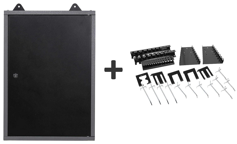 Ondis24 Werkstattschrank 40 cm Hä ngeschrank abschließ bar Werkzeugschrank inklusive 22-teiligem Hakensortiment Werkzeughalter