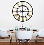 Craftter Handmade Heavy Metal Wall Art and Decor Wall Clock 75 cm Black and Gold