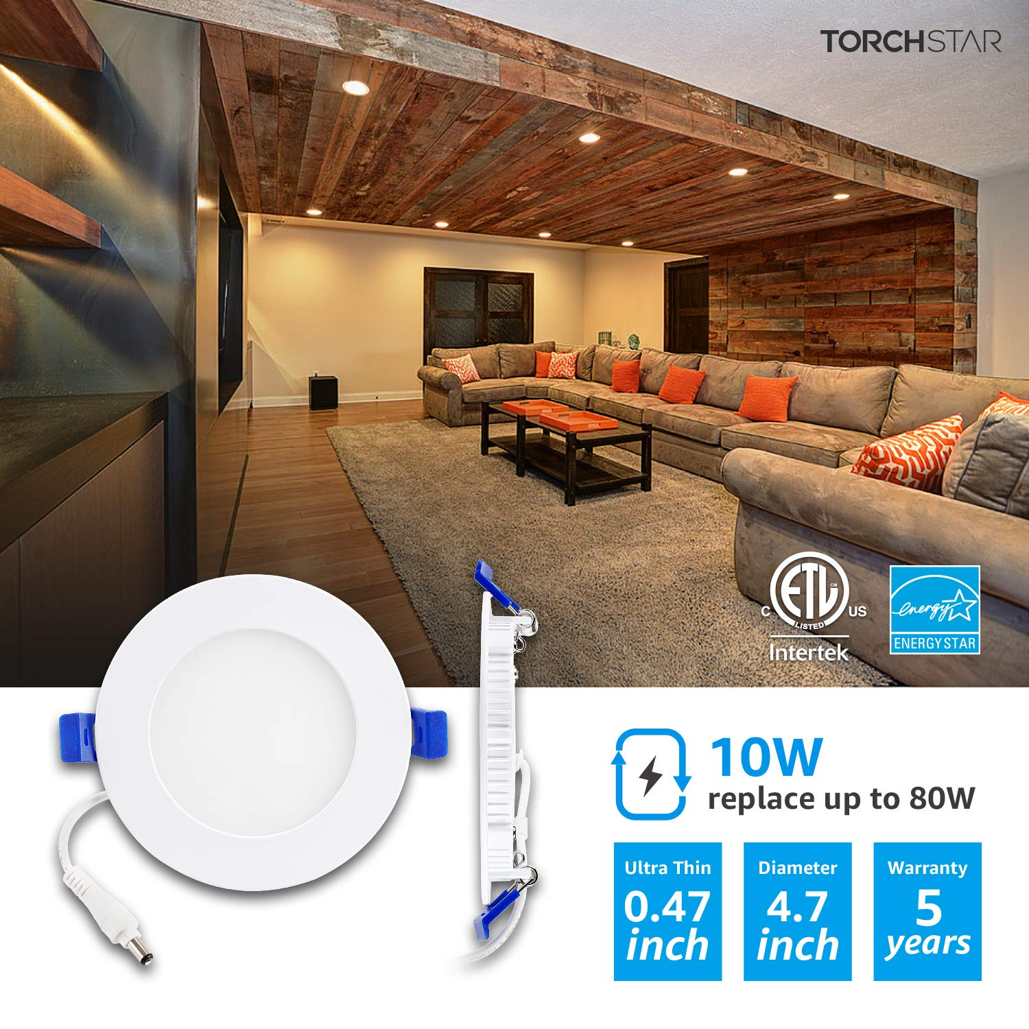 TORCHSTAR 12W 6'' Ultra-Thin Recessed Ceiling Light with Junction Box, 3000K Warm White, Dimmable Can-Killer Downlight, 850lm 100W Eqv. ETL and Energy Star Certified, Pack of 6 by TORCHSTAR (Image #4)
