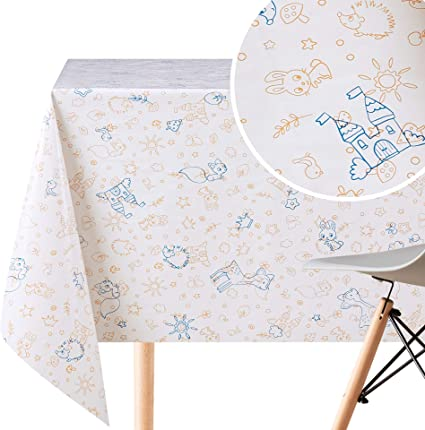 Kp Home Wipe Clean Tablecloth Reusable Fun Kids Colouring Pvc Table Cover Rectangular 200 X 140 Cm Wipeable Vinyl Smooth Table Cloth With Design For Children Amazon Co Uk Kitchen Home