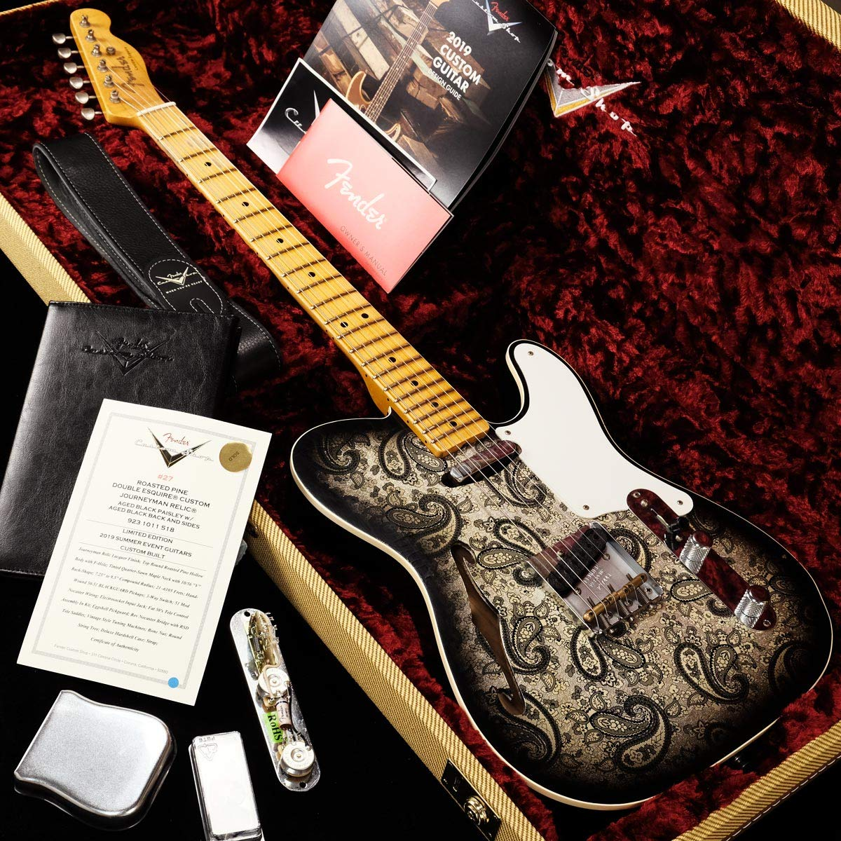 Fender Custom Shop/Limited Edition Roasted Pine Double Esquire Custom Journeyman Relic Aged Black Paisley   B07TT4D4TL
