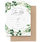 Bliss Collections Invitations with Envelopes for All Occasions, Eucalyptus Greenery Invites Perfect for: Weddings, Bridal Sho