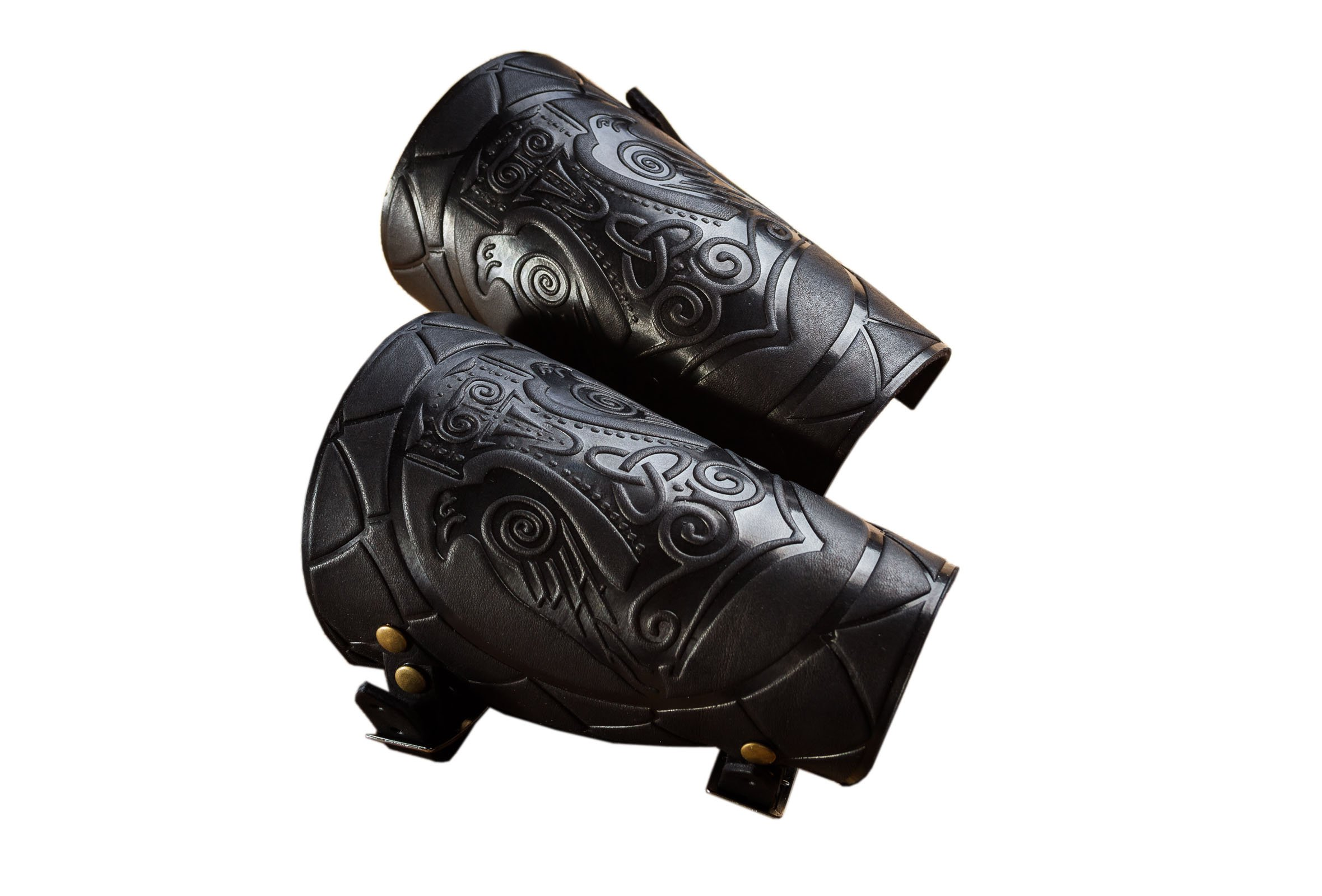 Stahlgilde Genui Leather Cuff LARP Bracers Armor Thor's Hammer Mjolnir Vikings a Pair