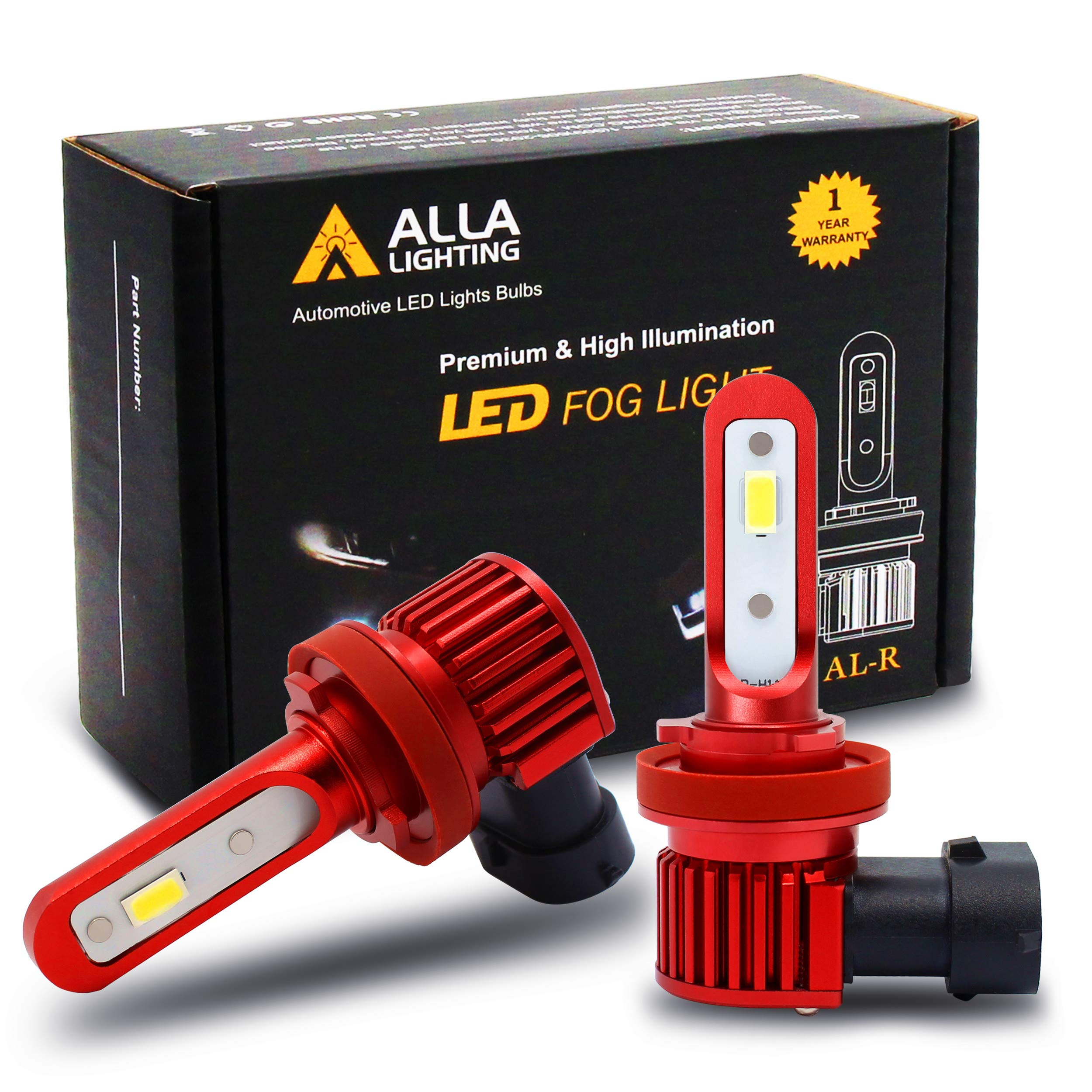 Alla Lighting 5200lm AL-R H11 H16 LED Fog Lights Bulbs Xtremely Super Bright H8 H11 H16 LED Bulb High Power 12V LED H16 Bulb Replacement for Cars, Trucks w/ H8 H11 H16 Fog Light, 6000K Xenon White by Alla Lighting