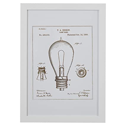 Amazon.com: Rivet Black and White Print of 1891 Bulb in White Frame ...