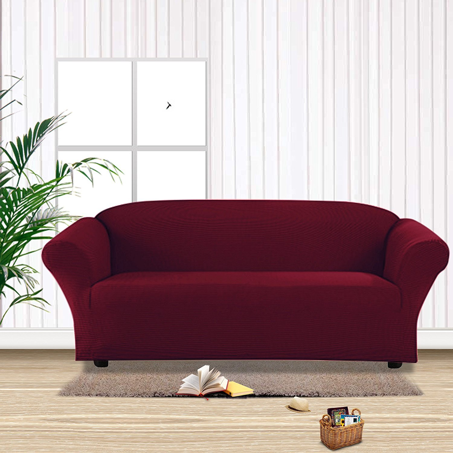 MB Collection Stretch Sofa Slipcover 1 Piece Sofa Bed Cover, Sofa Covers, Furniture Slipcover, Spandex Slipcovers (Burgundy)