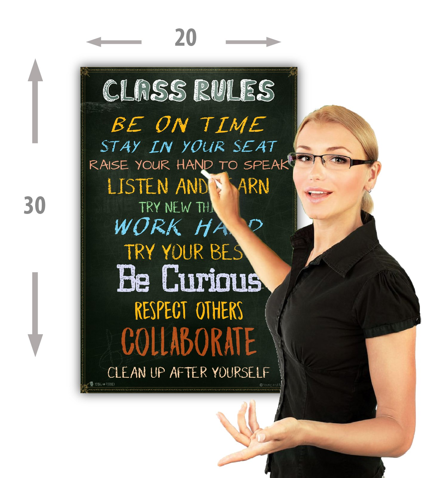 Classroom Rules sign chart LAMINATED EXTRA LARGE by Teachers for students learning in school study hall (20x30) by Young and refined (Image #3)