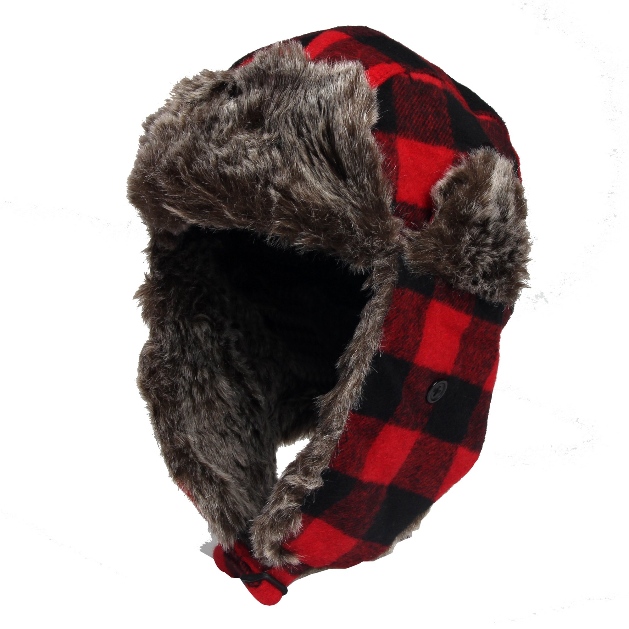 DONGKING Wool Blend Trapper Bomber Hat Earflap Cap Red Plaid Faux Fur Outdoor Winter Hat for Women (RED)
