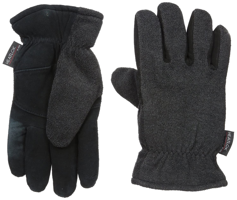 Mens XS Womens Medium Heatlok Thermal Warm Winter Gloves-Black-Size 7