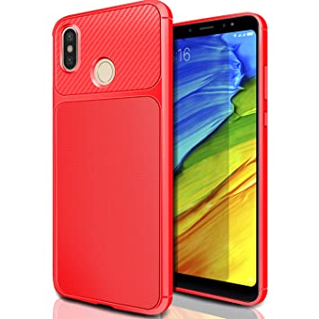 AROYI Xiaomi Redmi Note 5 Funda Rojo, Carcasa Redmi Note 5 Pro Slim Soft TPU Silicone Antigolpes Back Bumper Protective Case Cover para Xiaomi Redmi ...